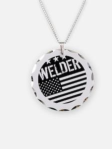Welder: Black Flag (Circle) Necklace