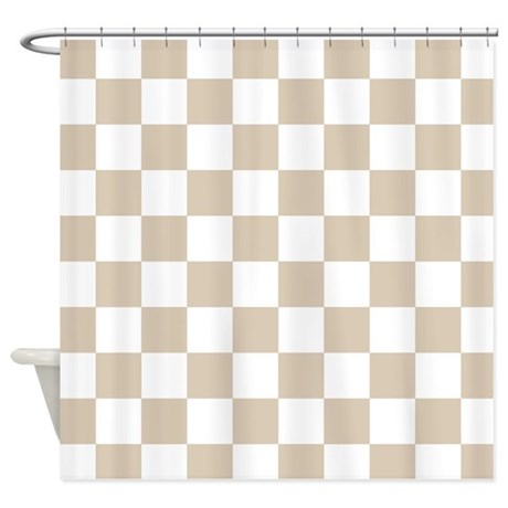Brown Beige Checkered Pattern Shower Curtain By Colors And Patterns 1