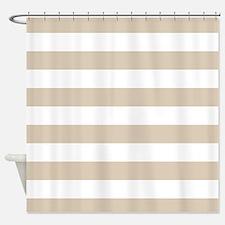 Brown, Beige: Stripes Pattern (Hori Shower Curtain