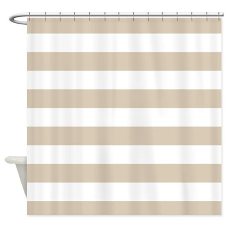 Brown, Beige: Stripes Pattern (Hori Shower Curtain