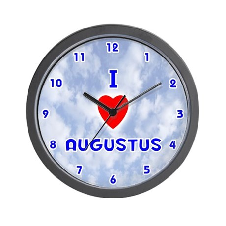 I Love Augustus (Blue) Valentine Wall Clock