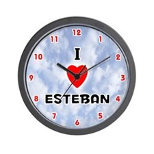 I Love Esteban (Red/Blk) Valentine Wall Clock