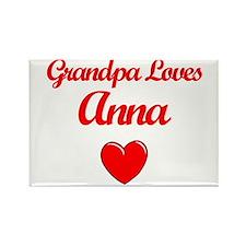 Grandpa Loves Anna Rectangle Magnet