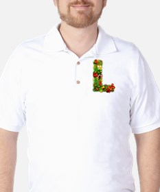 Christmas Letter L Alphabet Golf Shirt