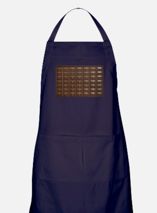 Vintage Library Card Catalog Drawers Apron (dark)