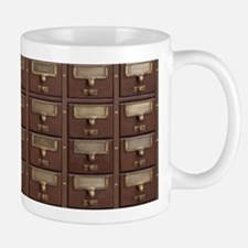 Vintage Library Card Catalog Drawers Mugs