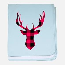 Winter Plaid Deer baby blanket
