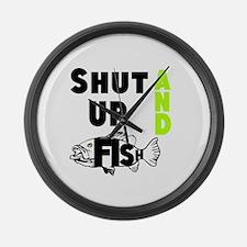 Shut up and Fish Large Wall Clock