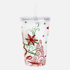 Abstract Green and Red Acrylic Double-wall Tumbler