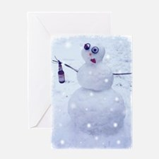 Drunken Snowman Greeting Cards
