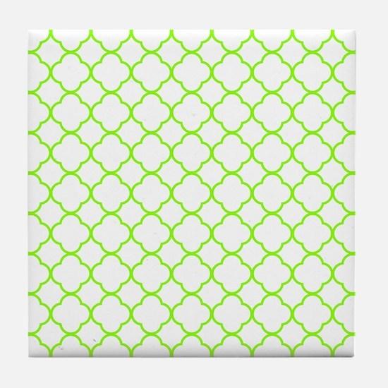 Green, Lime: Quatrefoil Clover Patter Tile Coaster