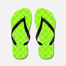 Green, Lime: Quatrefoil Clover Pattern Flip Flops