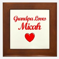 Grandpa Loves Micah Framed Tile