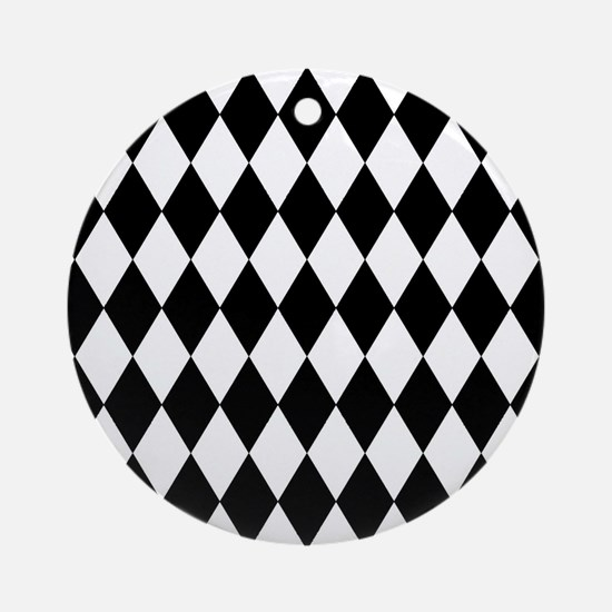 Black and White Harlequin Pattern Round Ornament
