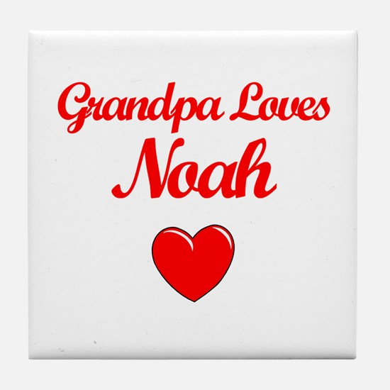 Grandpa Loves Noah Tile Coaster
