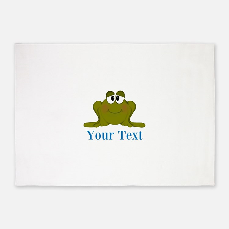 Personalizable Blue Frog 5'x7'Area Rug