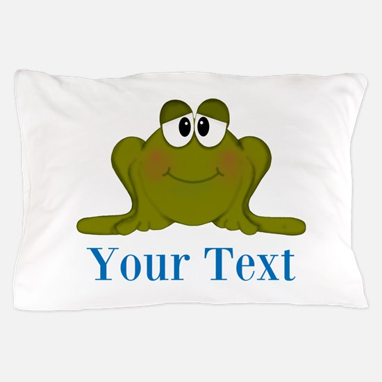 Personalizable Blue Frog Pillow Case