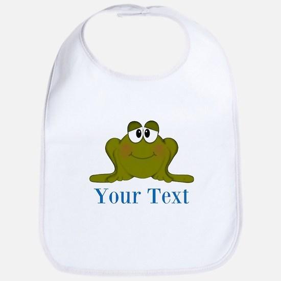 Personalizable Blue Frog Baby Bib