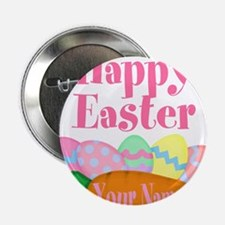 """Happy Easter Carrot and Eggs 2.25"""" Button"""