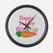 Happy Easter Carrot and Eggs Large Wall Clock