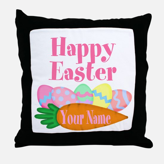 Happy Easter Carrot and Eggs Throw Pillow