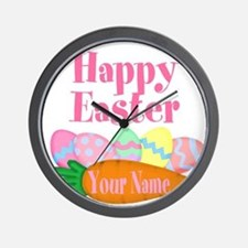 Happy Easter Carrot and Eggs Wall Clock