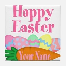 Happy Easter Carrot and Eggs Tile Coaster