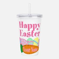 Happy Easter Carrot and Eggs Acrylic Double-wall T