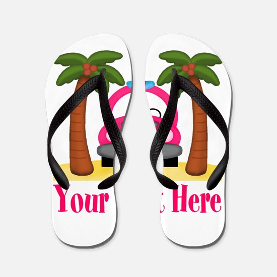 Personalizable Beach Pink Car Flip Flops