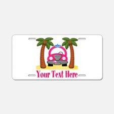Personalizable Beach Pink Car Aluminum License Pla