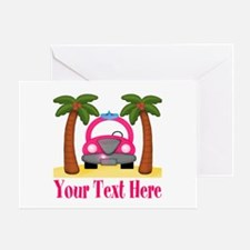 Personalizable Beach Pink Car Greeting Cards