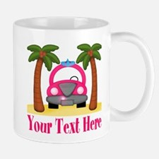 Personalizable Beach Pink Car Mugs