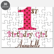 Personalizable First Birthday Pink Brown Puzzle
