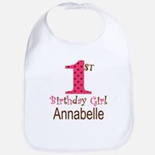Personalizable First Birthday Pink Brown Baby Bib