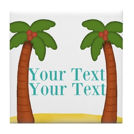 Personalizable Palm Trees Tile Coaster