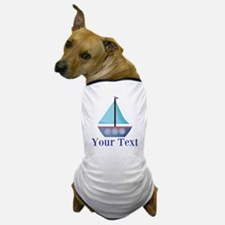 Customizable Blue Sailboat Dog T-Shirt