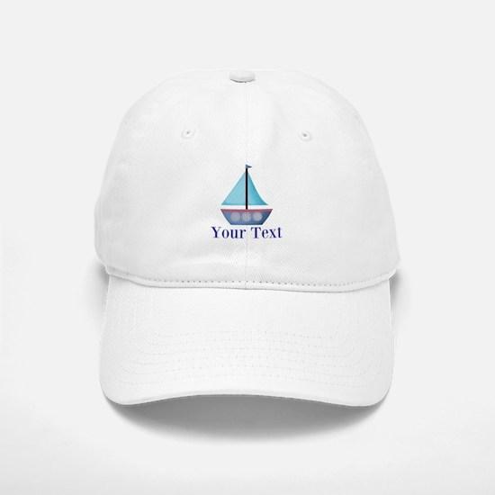 Customizable Blue Sailboat Baseball Baseball Baseball Cap
