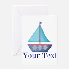Customizable Blue Sailboat Greeting Cards