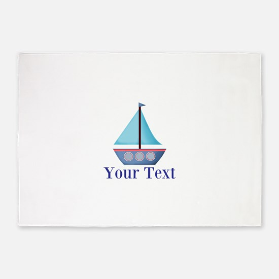 Customizable Blue Sailboat 5'x7'Area Rug