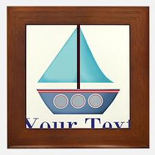 Customizable Blue Sailboat Framed Tile