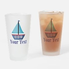 Customizable Blue Sailboat Drinking Glass