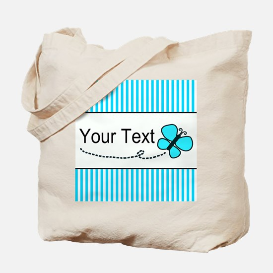 Personalizable Teal Butterfly Tote Bag