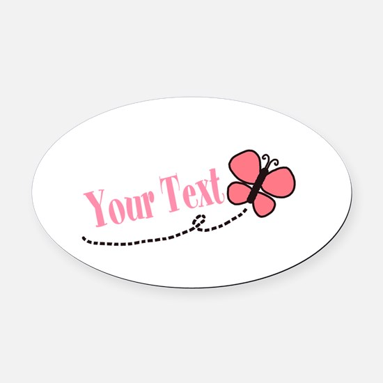 Personalizable Pink Butterfly Oval Car Magnet