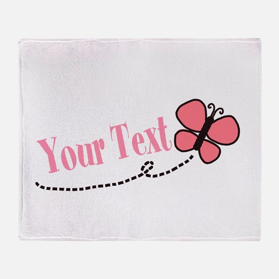 Personalizable Pink Butterfly Throw Blanket
