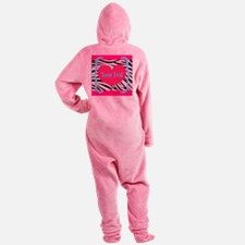 Personalizable Pink Zebra Footed Pajamas