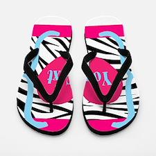 Personalizable Pink Zebra Flip Flops