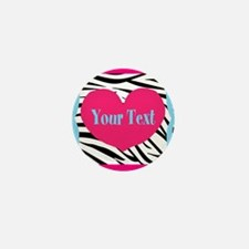 Personalizable Pink Zebra Mini Button (10 pack)
