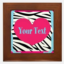 Personalizable Pink Zebra Framed Tile