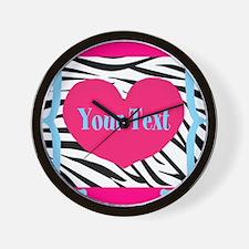 Personalizable Pink Zebra Wall Clock