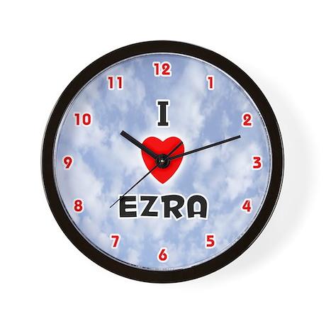 I Love Ezra (Red/Blk) Valentine Wall Clock